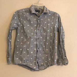 Boys Gray Patterned Button Up Shirt